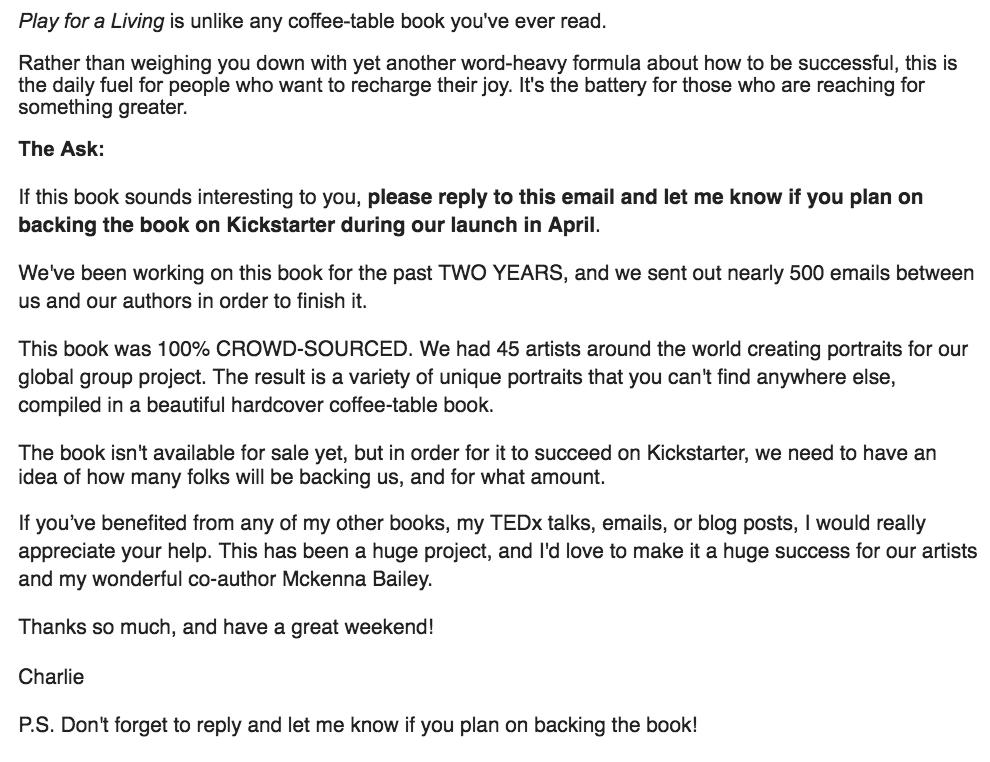 Kickstarter Email Book