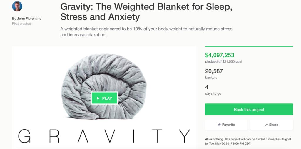 Kickstarter Gravity Blanket