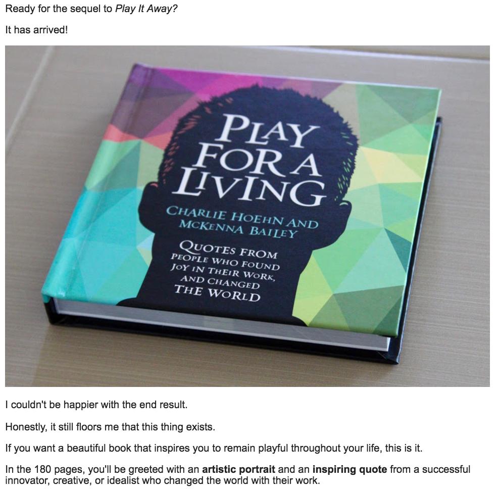 Kickstarter Book Email
