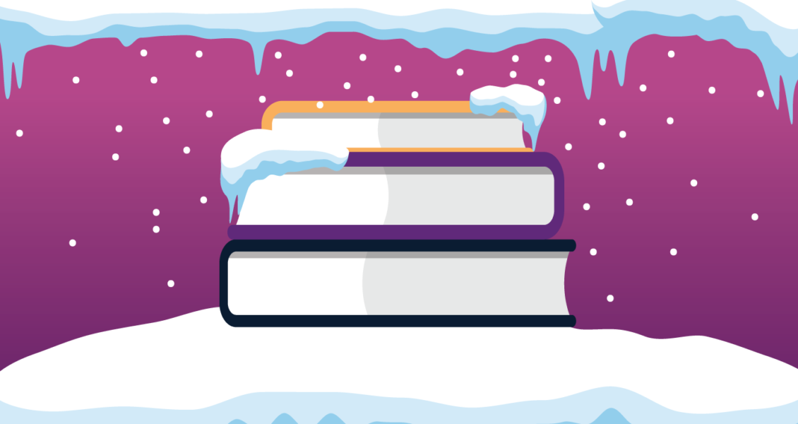 Stack of books frozen in the snow