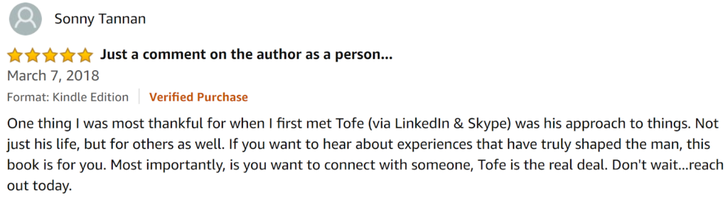 Review of Tofe Evan's Book