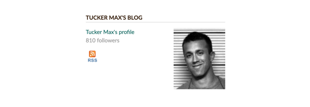 tucker max's goodreads account page