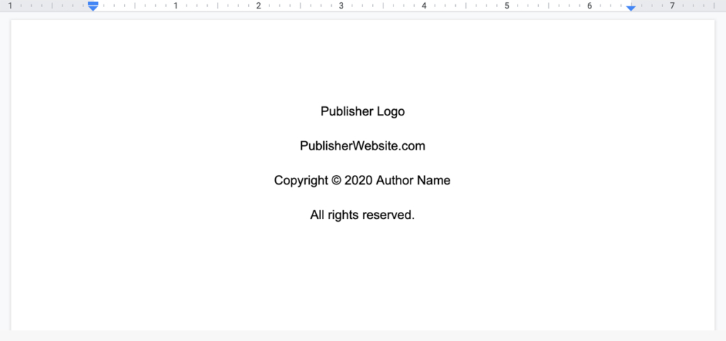basic copyright page