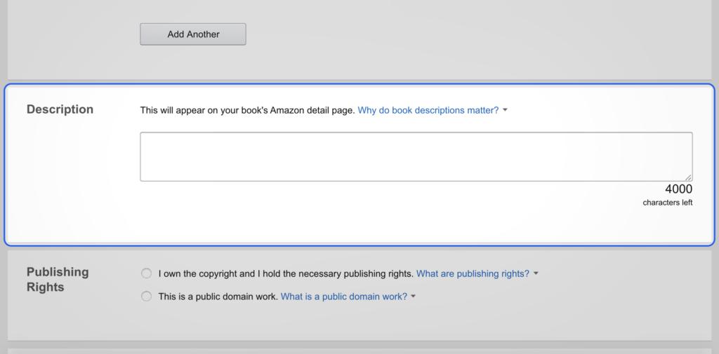 Amazon description box