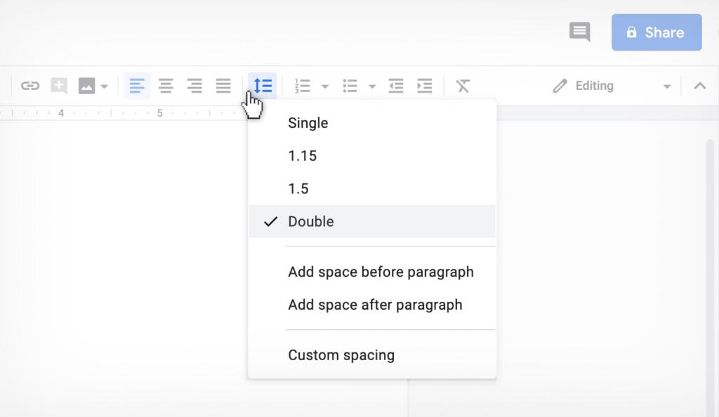 double spacing in Google Docs