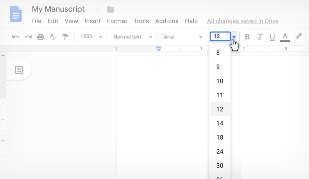 changing font size in Google Docs