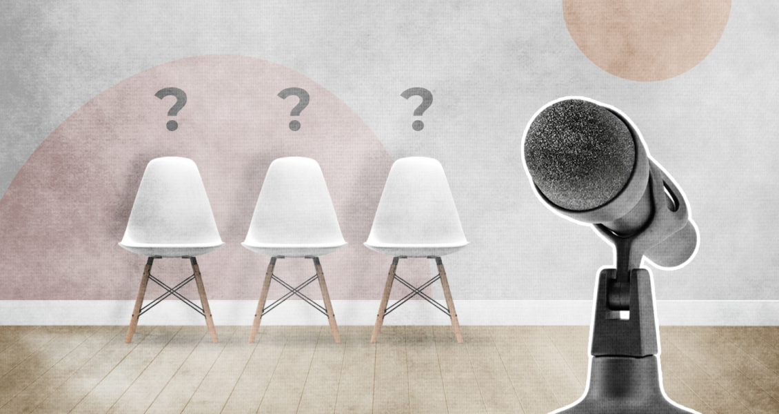 image of 3 chairs with question marks above them and a microphone in the foreground