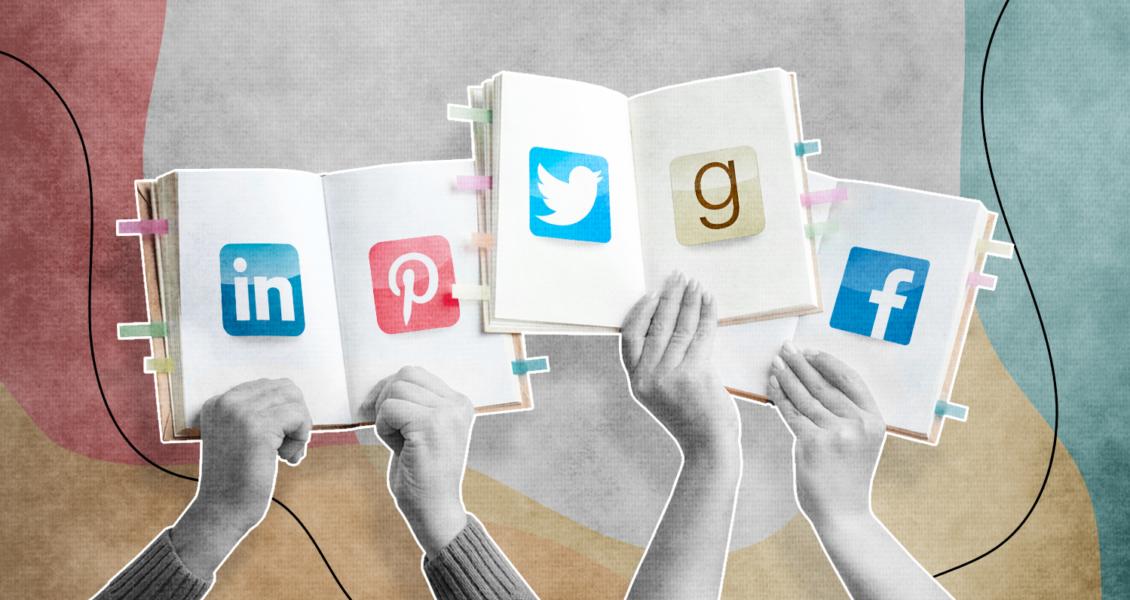 social media logos on open books