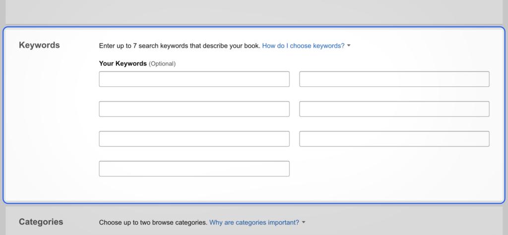 Amazon keywords box