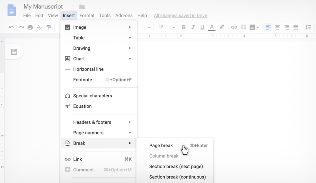 how to insert a page break in Google Docs