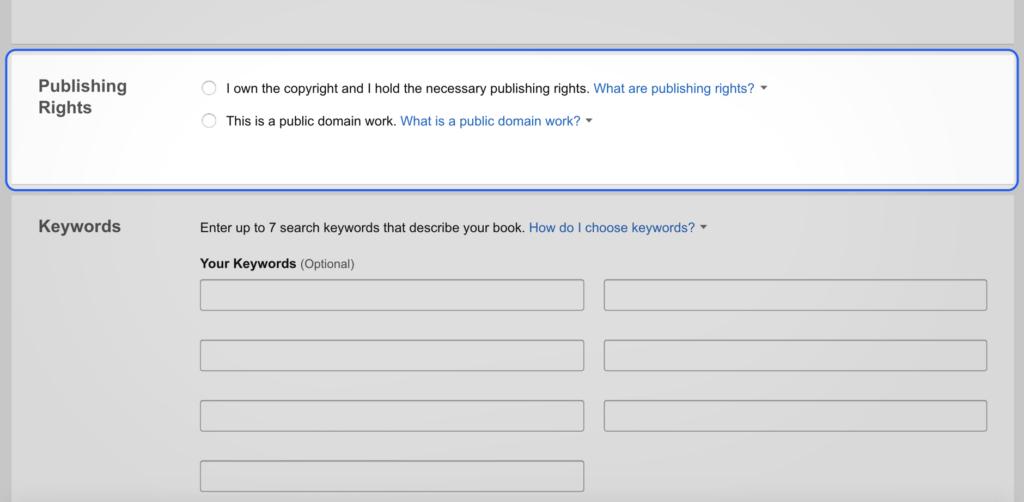 Amazon Publishing Rights box