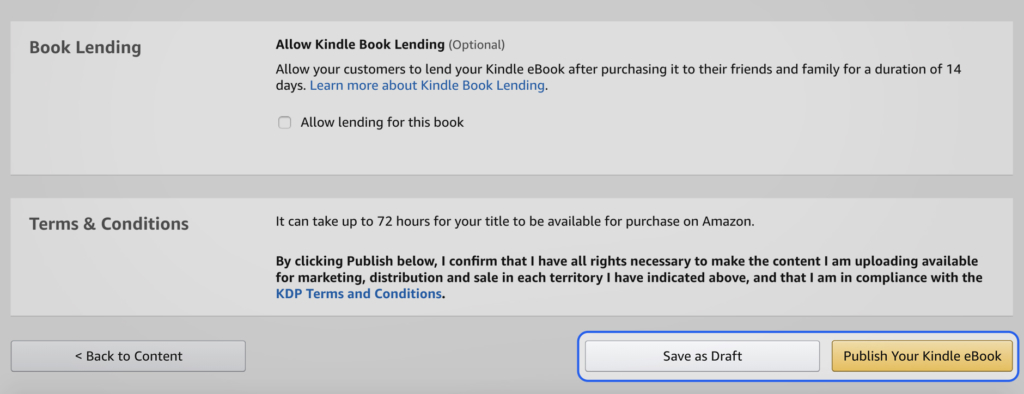 Save as Draft and Publish Your Kindle eBook buttons