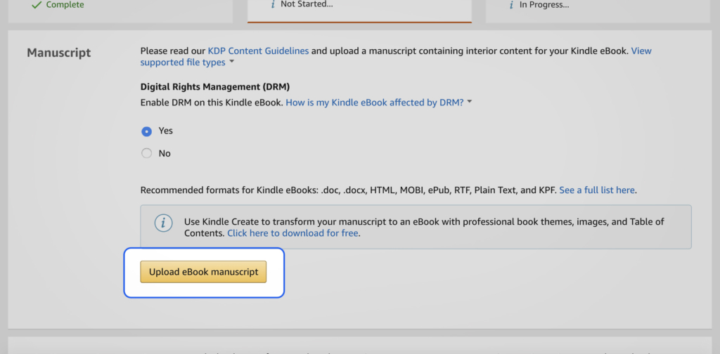Upload eBook manuscript button