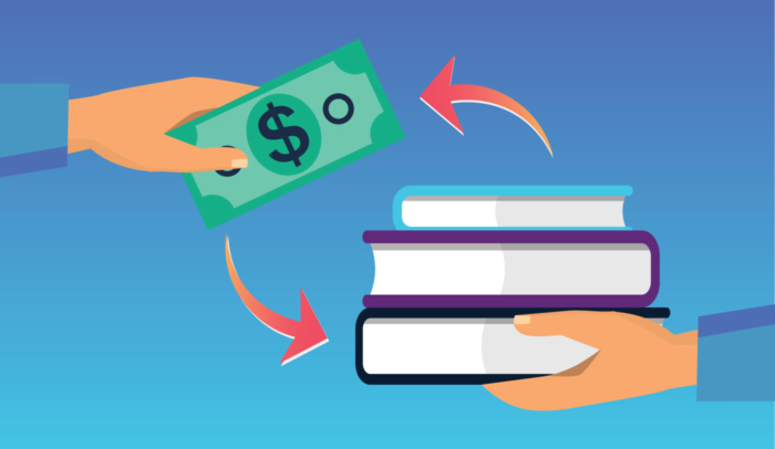 dollar bill with book stack illustration