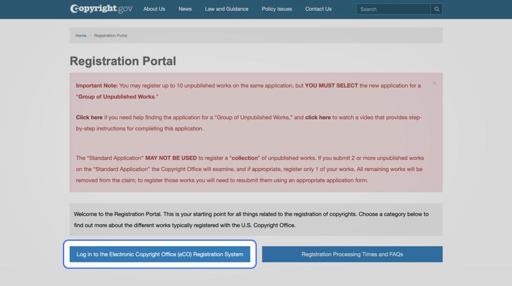 Registration Portal Log In