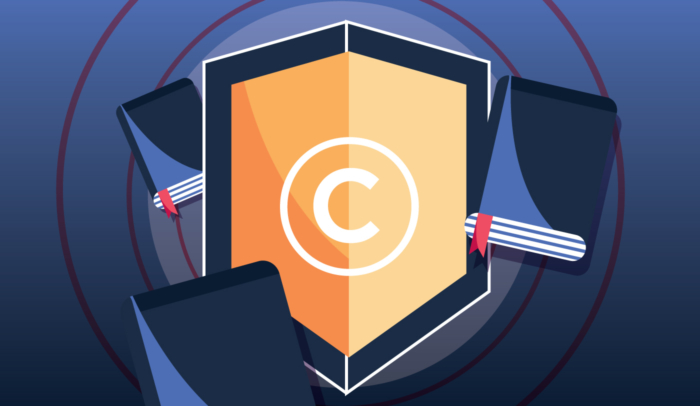 copyright shield with books arounds it