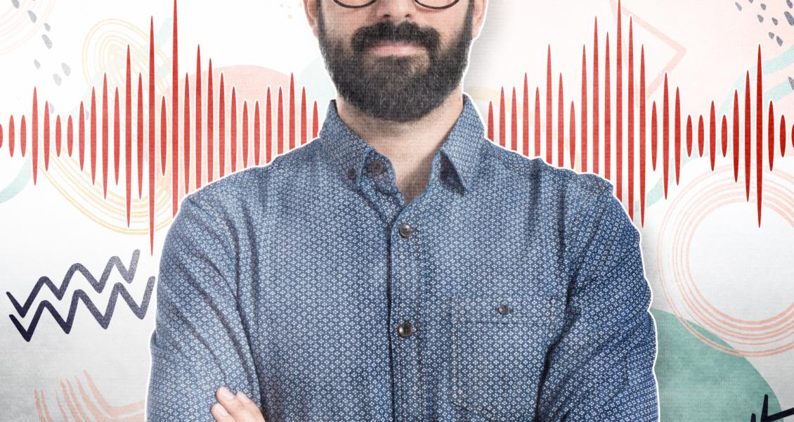 voice sound waves behind man