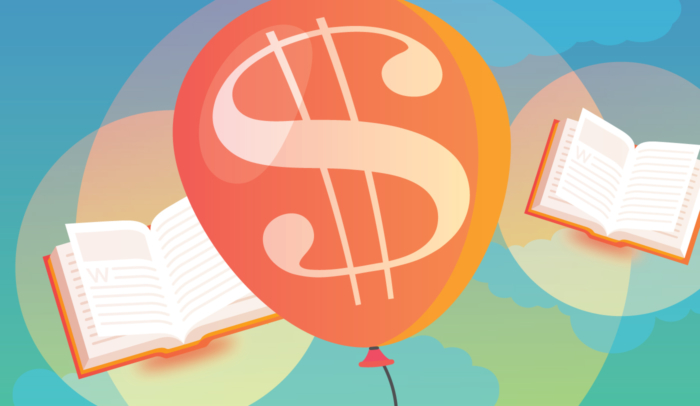 Balloon with money sign floating amongst flying books