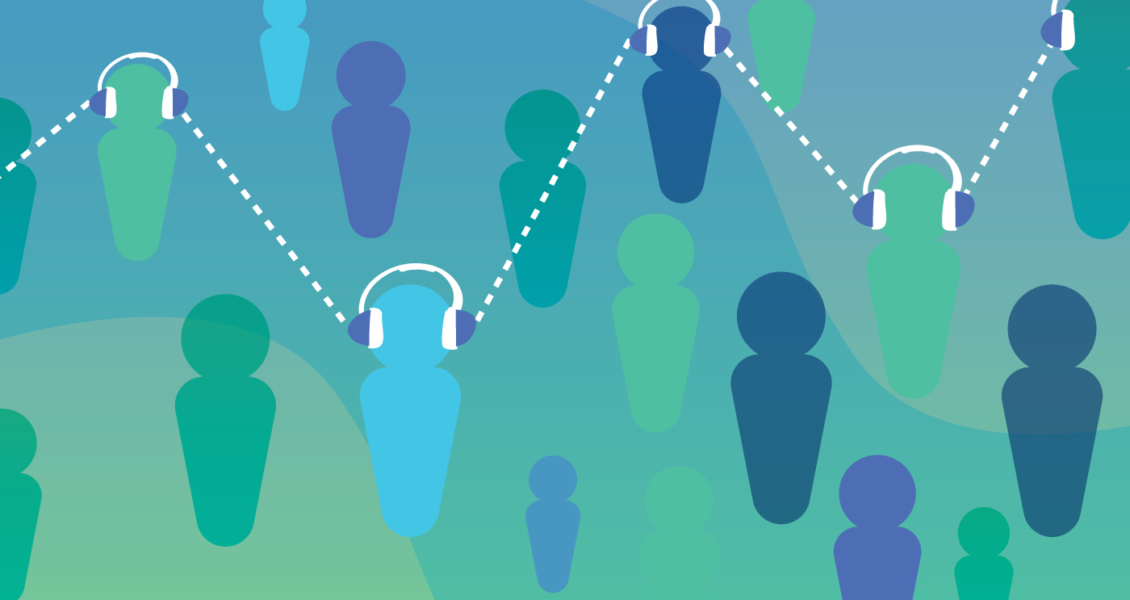 a crowd of silhouettes wearing headphones