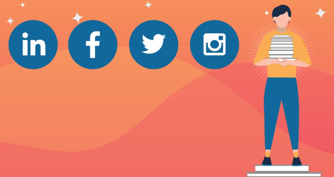 social media symbols on an orange background