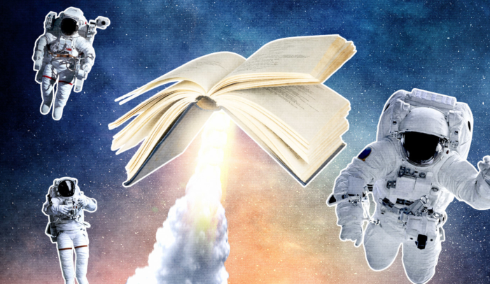 book launching into space surrounded by astronauts