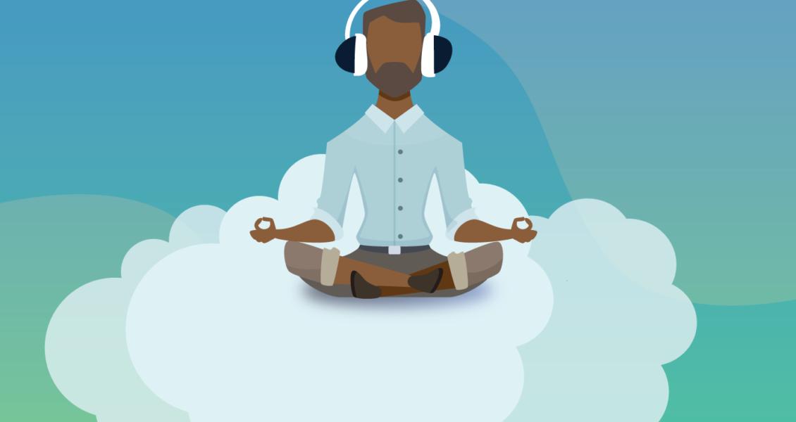 man meditating on a cloud