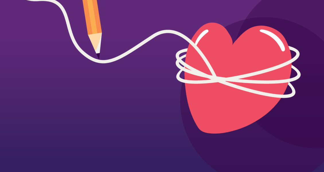 heart tied up with string next to a pencil