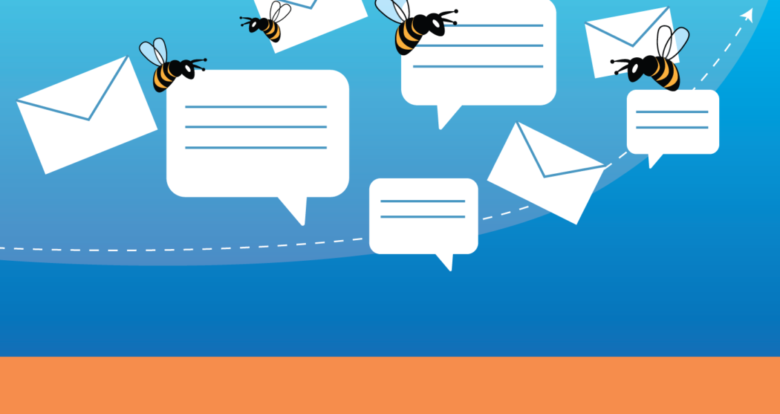 bees flying next to speech bubbles