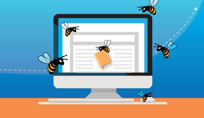 bees around a computer