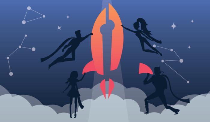 rocket in a night sky