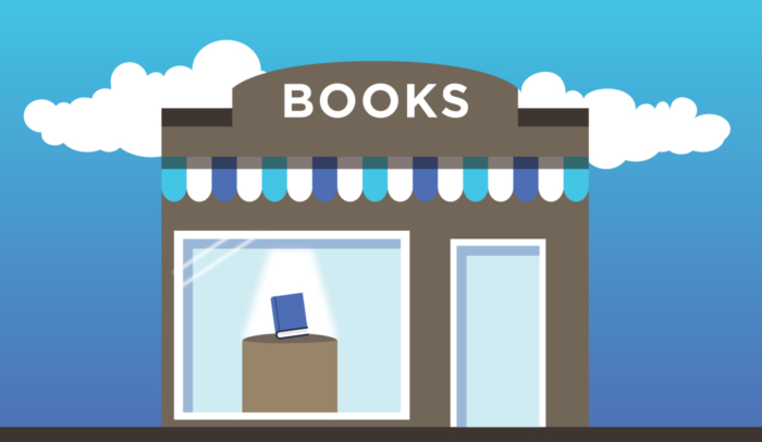 front of a bookstore illustration