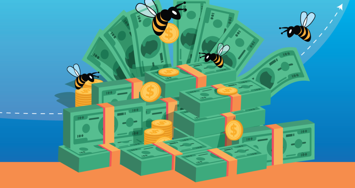 bees flying around a stack of money