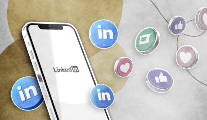 illustration of linkedin logos circling a phone