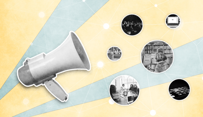 megaphone with public relations tools