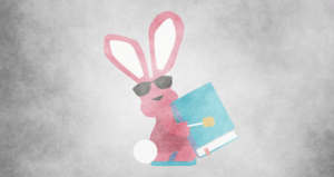 image of the an energizer bunny holding a book