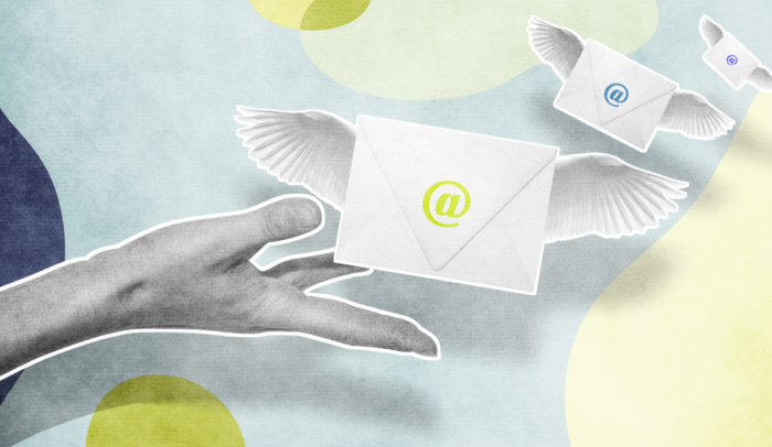 hand releasing envelopes with wings