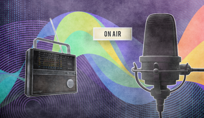 Radio with microphone and on air sign