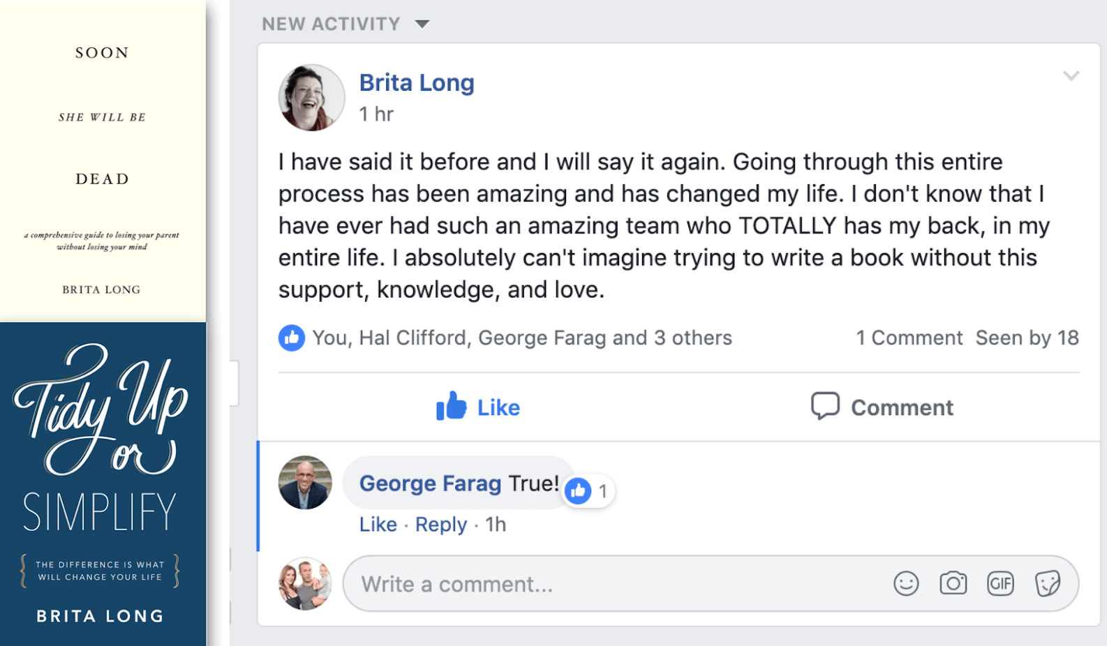 """Testimonial of Scribe Media's book coaching service: Guided Author; Brita Long's Facebook post: """"I have said it before and I will say it again. Going through this entire process has been amazing and has changed my life..."""""""