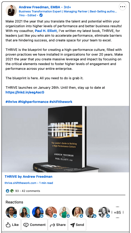 """Book launch social media campaign example: Andrew Freedman's """"Thrive"""""""