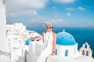 Patti overlooking the ocean in Greece